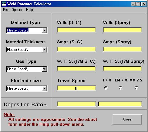 Untitled document the weld parameter calculator is a stand alone program designed for the beginner and intermediate robotic welding programmer keyboard keysfo Gallery